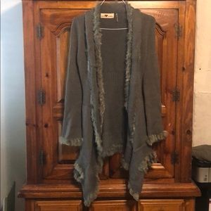Love Token gray cardigan with fur detail